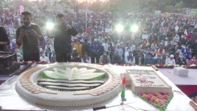 Photo of ৭৮ পাউন্ডের কেক কেটে রাষ্ট্রপতির জন্মদিন পালন